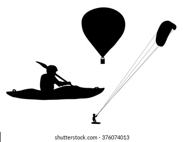 Black silhouette extreme sports ballooning, kayaking and kiteboarding