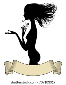 Black silhouette of fine naked girl standing in profile with loose hair and vintage banner. Vector illustration