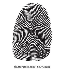 Black silhouette of fingerprint vector illustration. fingerprint scan