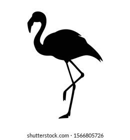 Black silhouette flamingo logo vector