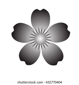 The black silhouette of a flower with five petals