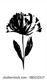 Black silhouette of a flower on white background. Vector isolated.