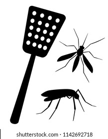 Black silhouette. Fly swatter with mosquitos. Tool for destruction of insects at home. Red swatter with blue handle. Flat vector illustration isolated on white background.