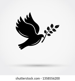 Black silhouette of  flying dove with  branch on grey background with shadow. Simple flat vector icon.