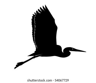 Black silhouette of a flying heron on a white background