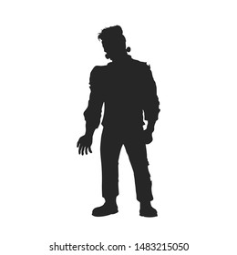 Black silhouette of frankenstein monster. Halloween party. Isolated image of scary zombie. Dead man on white background. Vector illustration