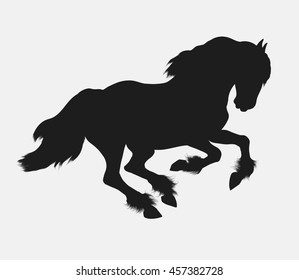 Black silhouette of a galloping Frisian horse