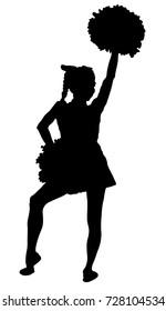 Black silhouette of girl cheerleader. Sports, cheerleading