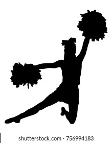 Black silhouette of girl cheerleaders. Sports, cheerleading, split.