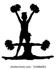 Black silhouette of girl cheerleaders. Sports, cheerleading, split. Two silhouettes of girls.