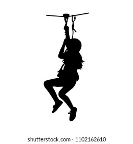 Black silhouette of a girl coming down on zip-line. Isolated vector illustration.