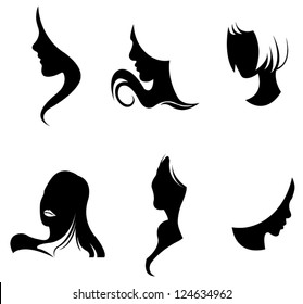 Black silhouette girl facial icon collection set in abstract fashion design, create by vector