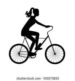 Black silhouette girl on a bike vector illustration isolated on white background