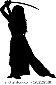 black silhouette of a girl with a saber isolated on a white background. Vector illustration