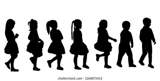 black silhouette of a girl walking, set