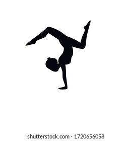 Black silhouette of a girl who performs exercises from yoga