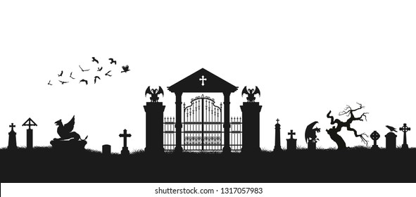 Black silhouette of gothic cemetery.  Medieval architecture. Graveyard with gate, crypt and tombstones. Halloween scene. Vector illustration
