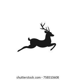 Black silhouette of graceful deer in jump with great antlers. vector flat icon isolated on white background