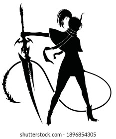 The black silhouette of a graceful demon girl, with a huge, oddly shaped saber in one full hand and a long, spiked whip in the other.. 2d illustration.