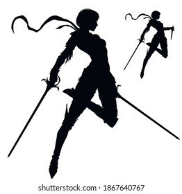 A black silhouette of a graceful knight girl with two paired swords, she froze in a dynamic leap forward, her scarf fluttering beautifully in the wind . 2D illustration