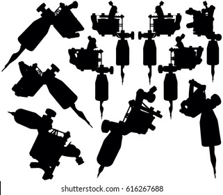 Lot of black silhouette graphic tattoo machines on white background vector illustration