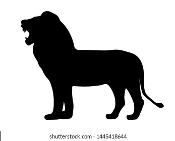 Black silhouette growling lion. Vector illustration isolated on white background, profile side view icon.