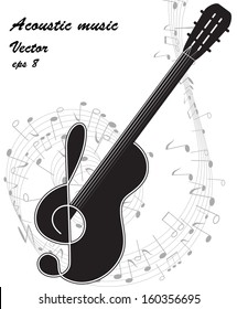 Black silhouette of a guitar and treble clef on the music notes background. Vector. eps 8.