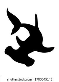 Black silhouette hammerhead shark underwater giant animal simple cartoon character design flat vector illustration isolated on white background