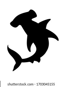Black silhouette hammerhead shark underwater giant animal simple cartoon character design flat vector illustration isolated on white background