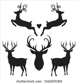 Black silhouette hand drawn deer s horn, antler and head set. Animal antler collection. Design elements of deer. Wildlife hunters, hipster, Christmas and New Year concept