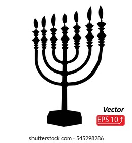 black silhouette Hanukkah menorah with fire candles on white background. vector illustration