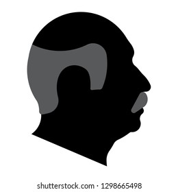 Black silhouette of the head of an old man. A man with a bald head and a mustache. Side view. Vector illustration.