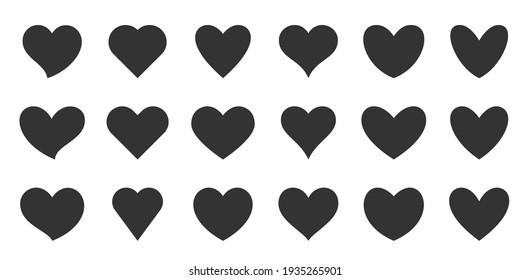 Black silhouette heart flat icon set isolated on white. Different shapes retro abstract romantic love outline graphic design element collection. Health care, wedding, Valentine day card, like symbol