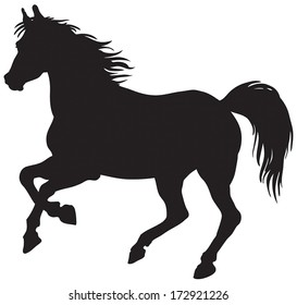 Black silhouette of horse.