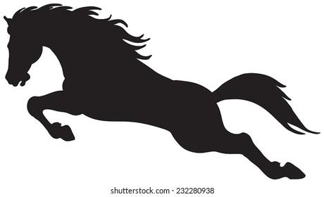 Black silhouette of horse.