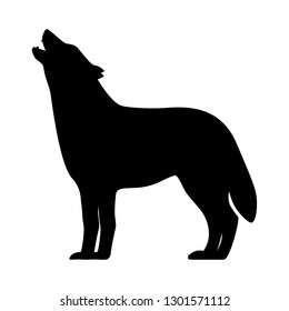 Black silhouette of a howling wolf. Vector illustration isolated on white, logo icon side view.