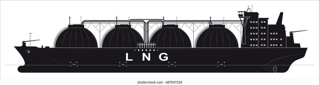 Black silhouette of a huge ocean tanker for liquefied gas. Traced details.