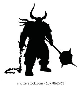 a black silhouette of a huge, sinister, stocky ogre with a giant spiked hammer, a broken chain in his other hand, and a helmet with horns, one of which is broken . 2d illustration.