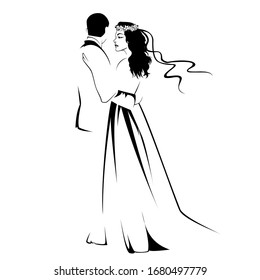 Black silhouette of huging groom and bride, wedding design on white  background vector illustration,lovers logo, new family icon