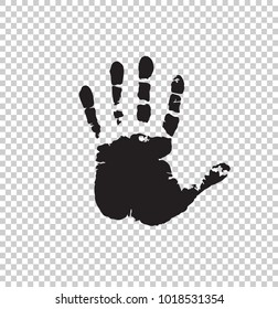 Black silhouette of human hand print isolated on transparent background. Vector monochrome illustration, icon, logo, clip art.