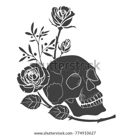 Black Silhouette Human Skull Roses Tattoo Stockvector Rechtenvrij