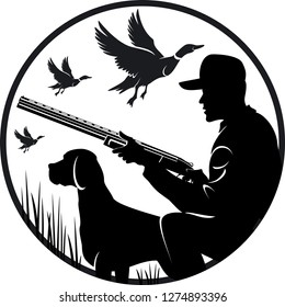 Black silhouette of a hunter, with a dog, Duck hunting