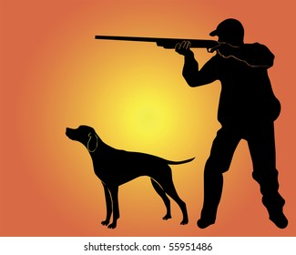 Black silhouette of the hunter with a dog on an orange background