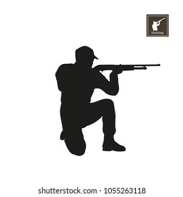 Black silhouette of hunter on white background. Icon of hunt man. Shooter with rifle. Vector illustration