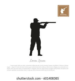 Black silhouette of a hunter on a white background. Man shooting a gun. Vector illustration