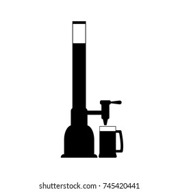 Black silhouette icon of beer dispenser, beer pump with tap and handle. Pouring beer in glass mug. Vector drawing. Illustration with isolated object on white background.