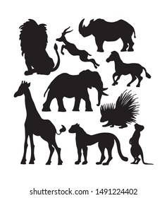 Black silhouette icon set of African animals. South wildlife shadow vector collection.