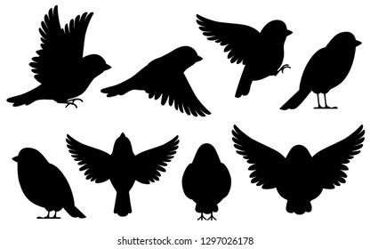 Black silhouette. Icon set of Sparrow bird. Flat cartoon character design. Bird icon in different side of view. Cute sparrow for world sparrow day. Vector illustration isolated on white background.