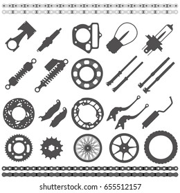 Black silhouette Icons , Motorcycle Parts collection,flat