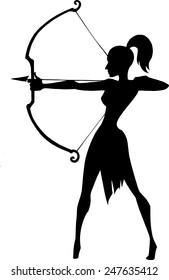 Black silhouette illustration of a beautiful elegant woman holding bow and taking aim at something Isolated on white